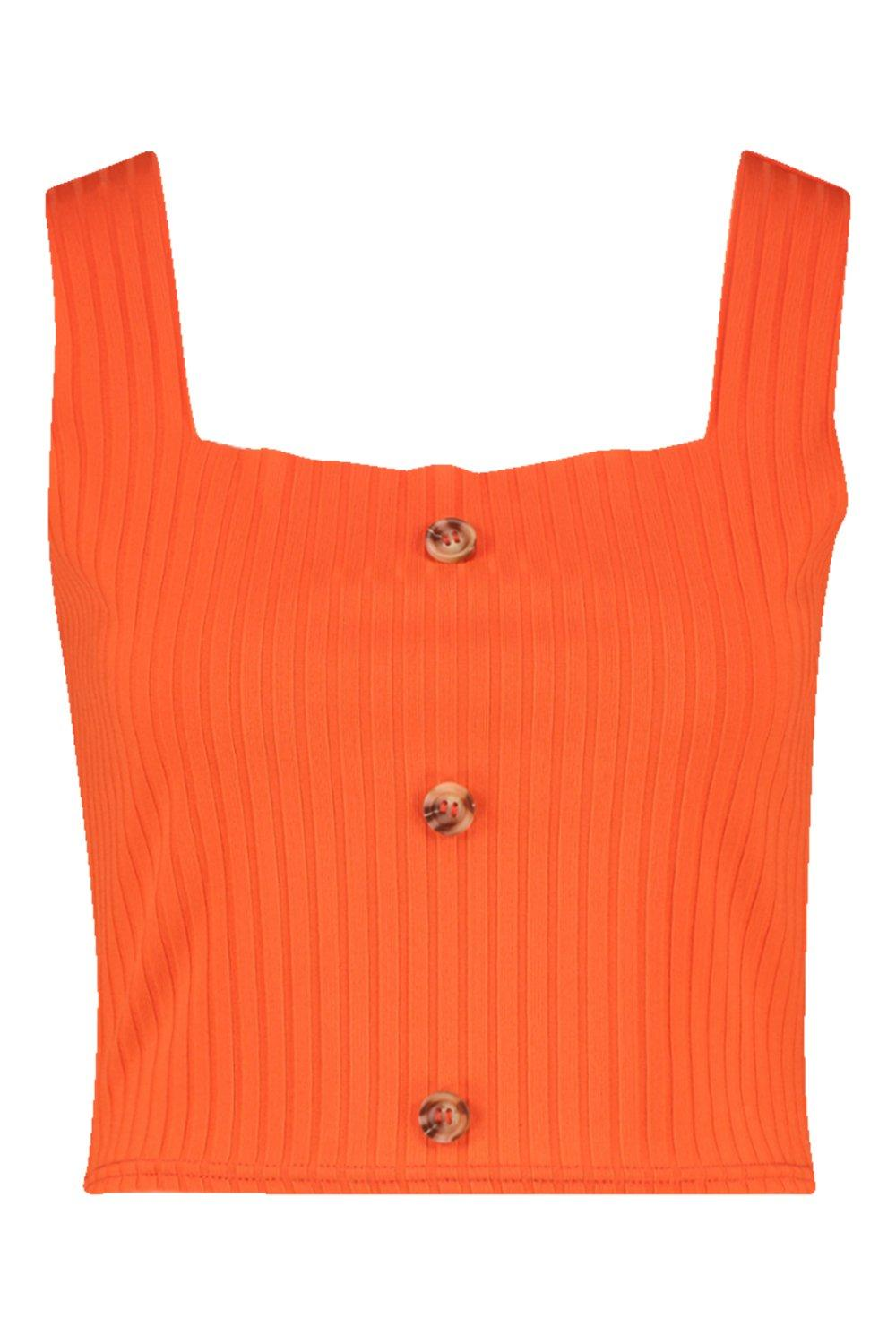 orange Horn Button Tall Crop Square Neck BqSwF1