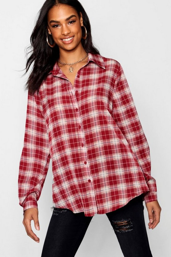 Womens Red Tall Woven Check Shirt