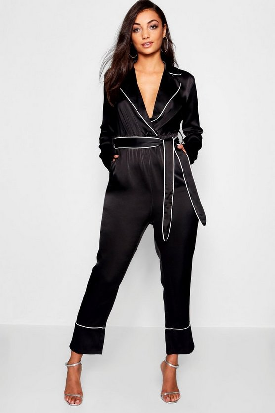 Womens Black Tall Pyjama Style Belted Satin Culotte Jumpsuit