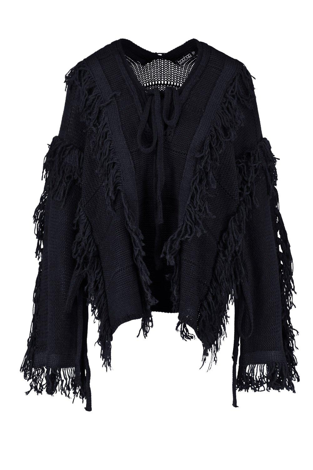 Tall Lace black Tassel Oversized Up Jumper 4rw4gq