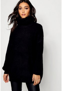 Tall Oversized Roll Neck Jumper, Black, Femme
