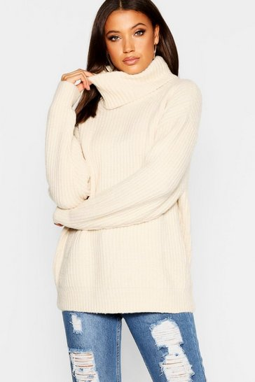 Womens Cream Tall Oversized Roll Neck Jumper