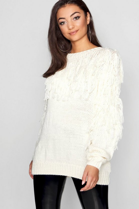 Womens Cream Tall Tassel Knit Sweater