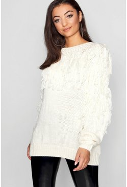 Womens Cream Tall Tassel Knit Jumper
