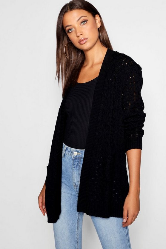 Tall Honeycomb Knit Edge To Edge Cardigan, Black, DAMEN