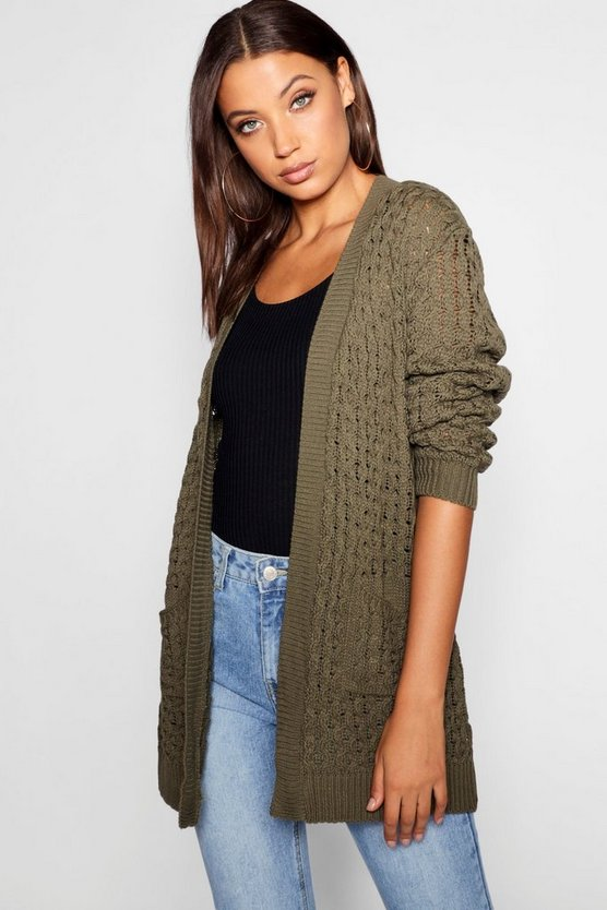 Tall Honeycomb Knit Edge To Edge Cardigan