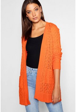 Tall Honeycomb Knit Edge To Edge Cardigan, Orange, DAMEN