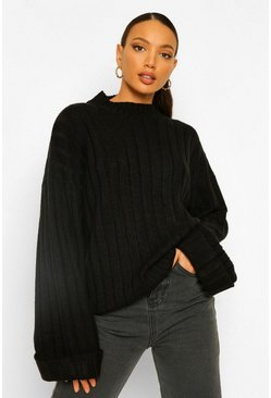 Black Tall Wide Rib Turn Up Cuff Sweater