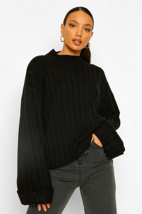 Womens Black Tall Wide Rib Turn Up Cuff Jumper