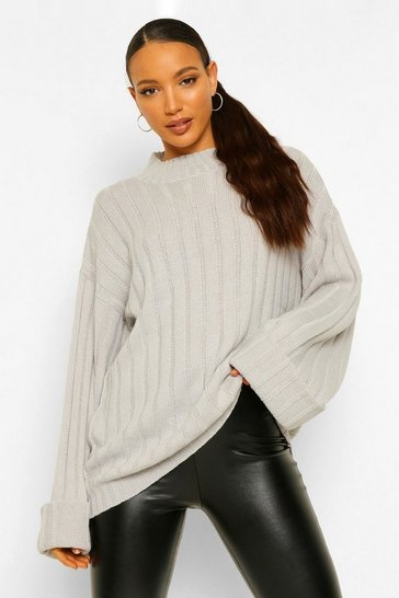 Grey Tall Wide Rib Turn Up Cuff Jumper