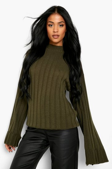 Womens Khaki Tall Wide Rib Turn Up Cuff Jumper