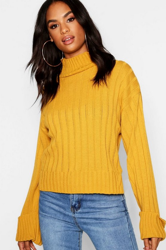 Tall Wide Rib Turn Up Cuff Jumper, Mustard, Donna