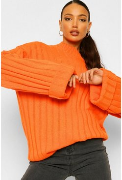 Tall Wide Rib Turn Up Cuff Jumper, Orange