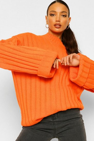 Womens Orange Tall Wide Rib Turn Up Cuff Jumper