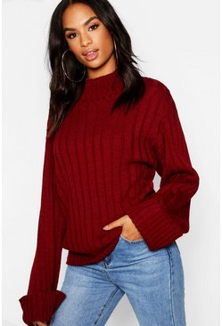 Wine Tall Wide Rib Turn Up Cuff Jumper