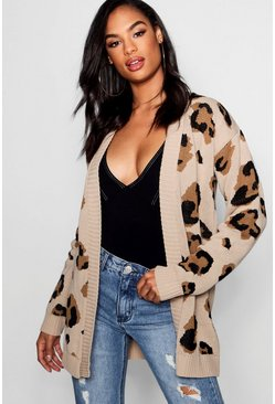 Womens Stone Tall Leopard Cardigan
