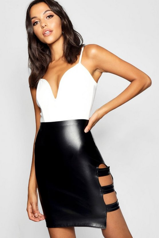Womens Black Tall PU Strappy Mini Skirt