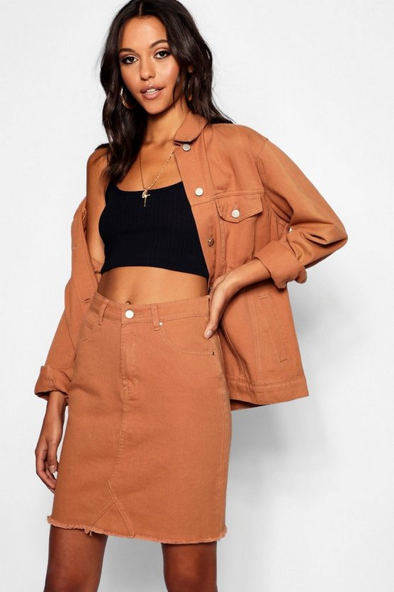 Tall Tan Denim Skirt