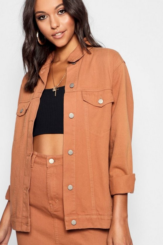 Tall Tan Boyfriend Denim Jacket