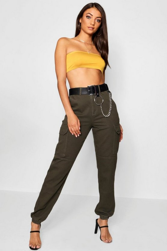 Womens Khaki Tall Denim Cuffed Utility Trousers