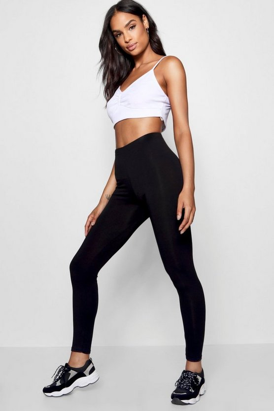 Womens Black Tall Basic Cropped Jersey Leggings
