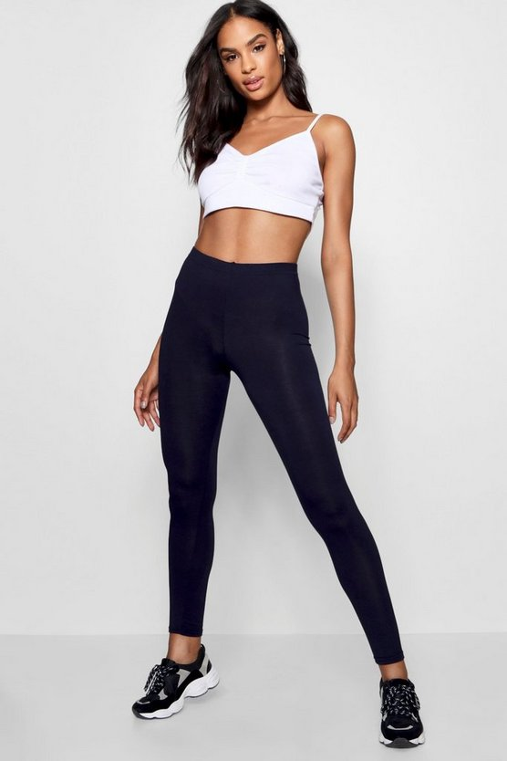 Navy Tall Basic Cropped Jersey Leggings