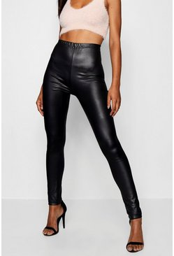Womens Black Tall Wet Look Leggings