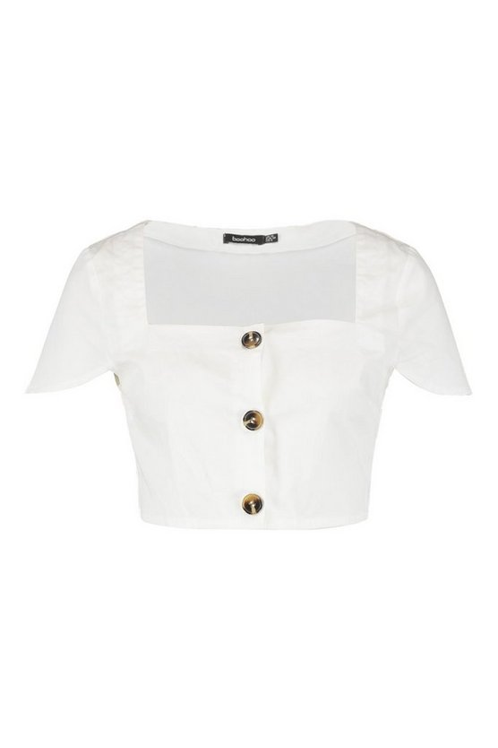 Tall Mock Horn Button Through Square Neck Crop by Boohoo
