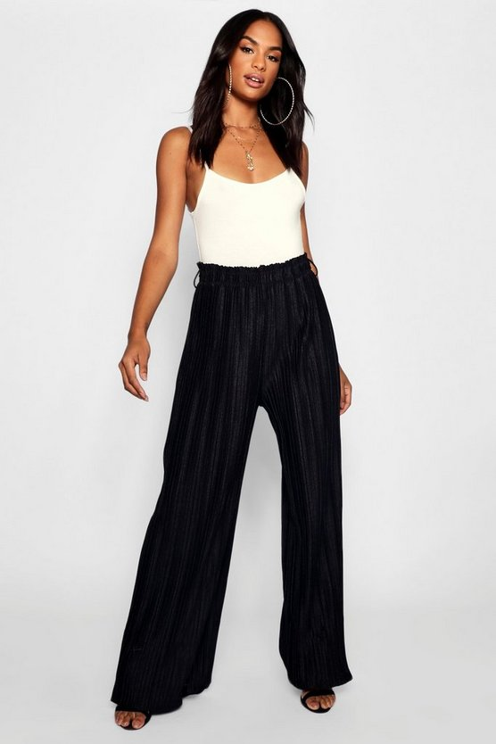 Womens Black Tall Wide Leg Pleated Trousers