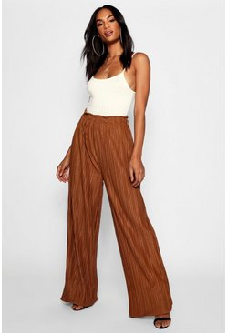 Womens Caramel Tall Wide Leg Pleated Trousers