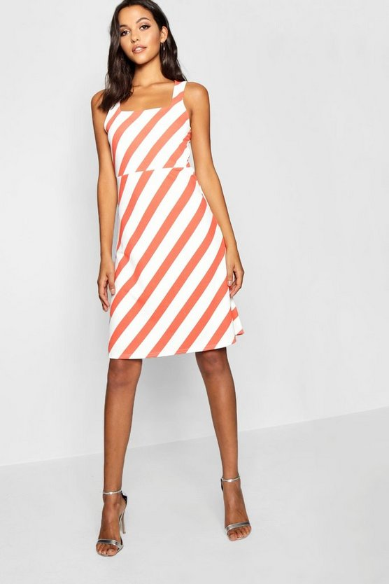 Womens Pink Tall Chevron Stripe Midi Skater Dress