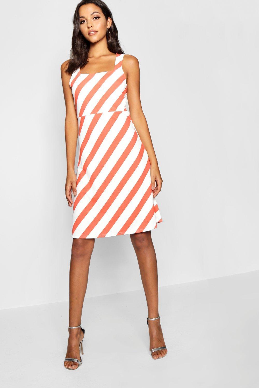 Boohoo Womens Tall Chevron Stripe Midi Skater Dress in Pink size 8 0654e7d69