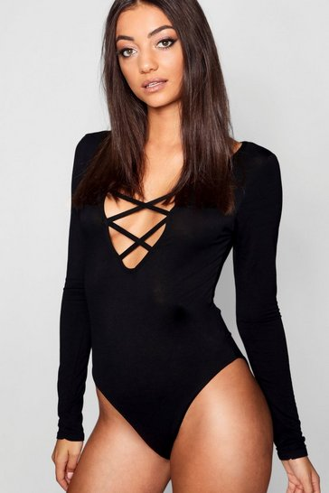Womens Black Tall Lace Up Front L/S Bodysuit