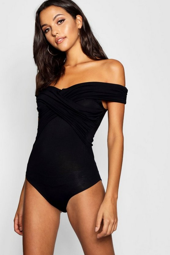 Womens Black Tall Bardot Ruched Detail Bodysuit