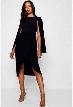 Black Tall Cape Tailored Belted Midi Dress