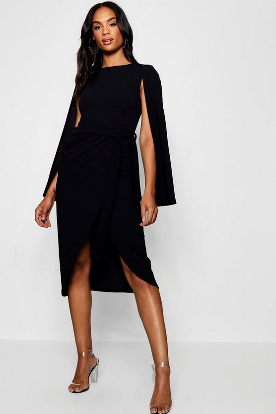 Tall Cape Tailored Belted Midi Dress