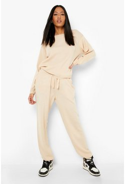 Womens Stone Tall Slash Neck Knitted Lounge Set
