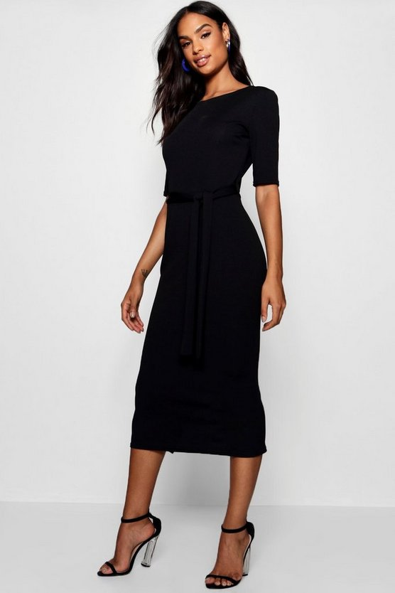 Black Tall Belted Midi Dress
