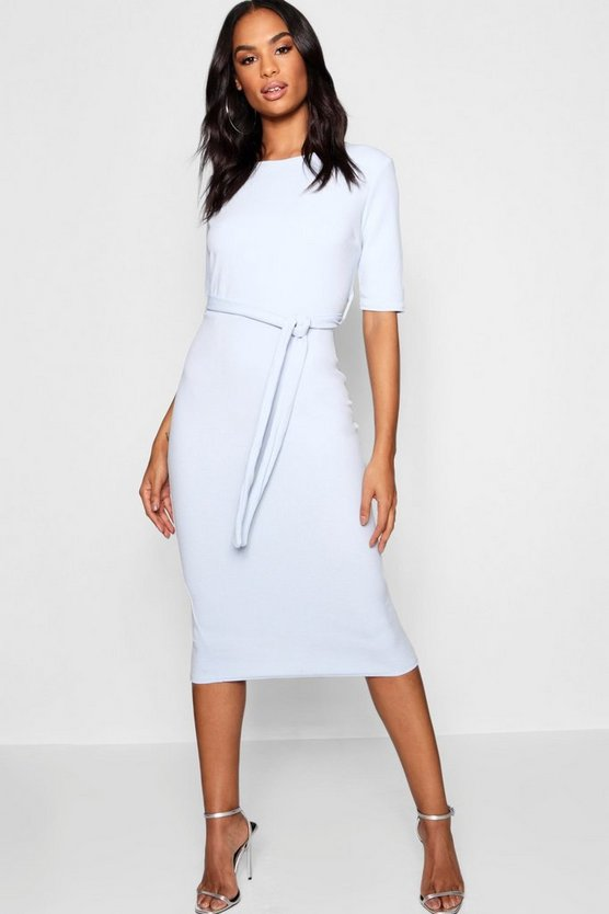 Womens Grey Tall Belted Midi Dress