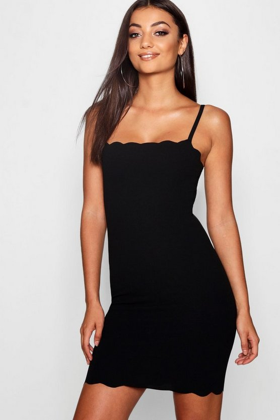Womens Black Tall Scallop Strappy Mini Dress