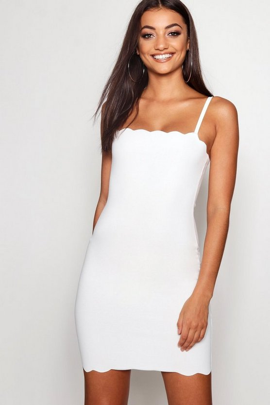 Womens Ivory Tall Scallop Strappy Mini Dress