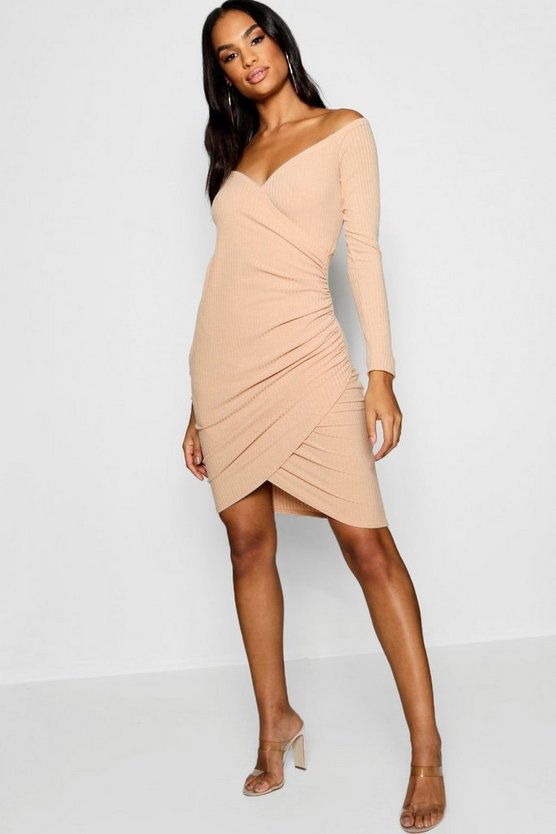 Tall Off Shoulder Rib Wrap Dress
