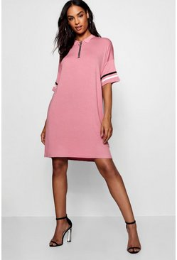 Womens Blush Tall Polo Zip Through Dress