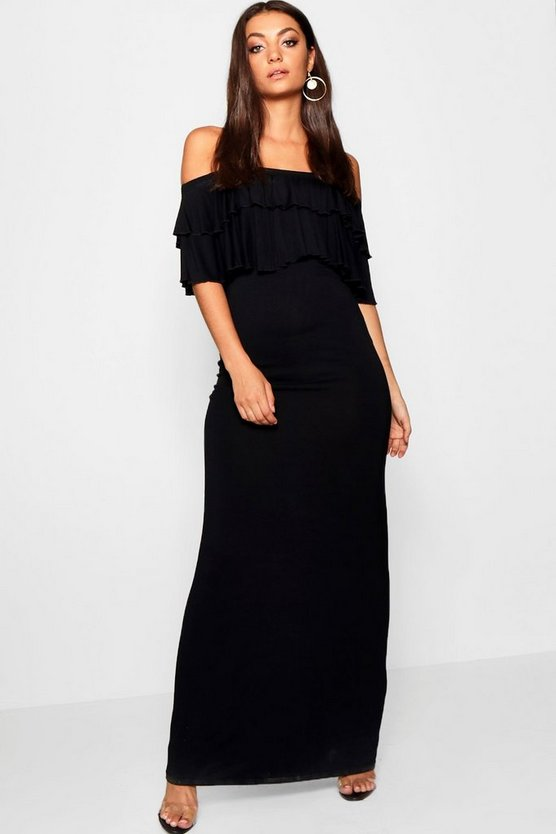 Womens Black Tall Off Shoulder Ruffle Maxi Dress