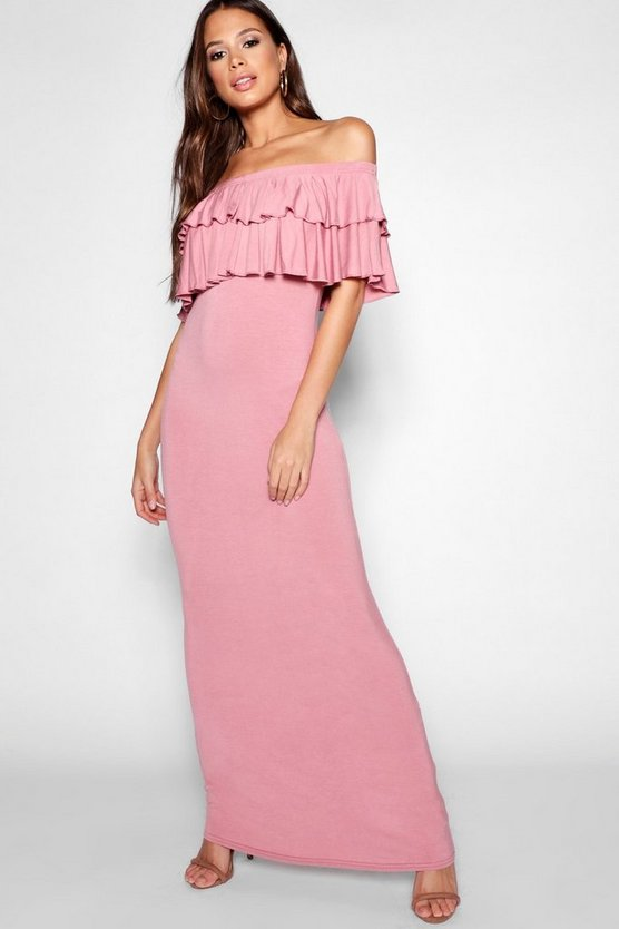 Tall Off Shoulder Ruffle Maxi Dress