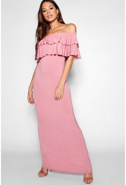 Womens Blush Tall Off Shoulder Ruffle Maxi Dress