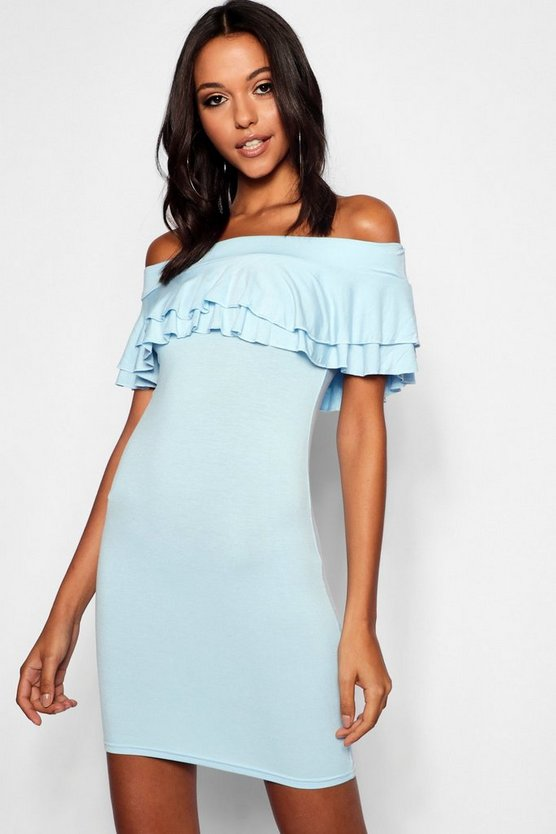 Tall Off The Shoulder Ruffle Mini Dress