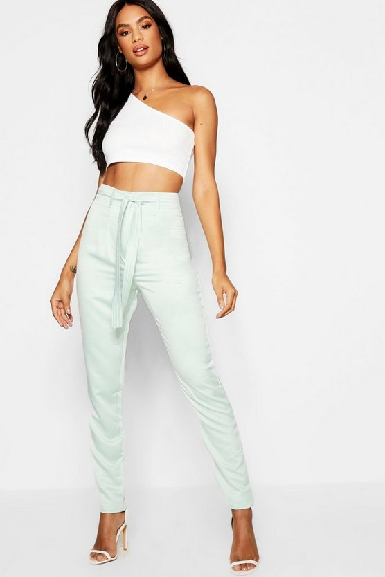 Womens Sage Tall Woven Skinny Trousers