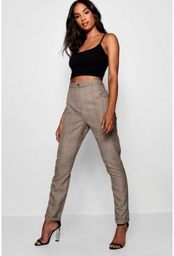 Womens Brown Tall Checked Woven Tapered Trousers