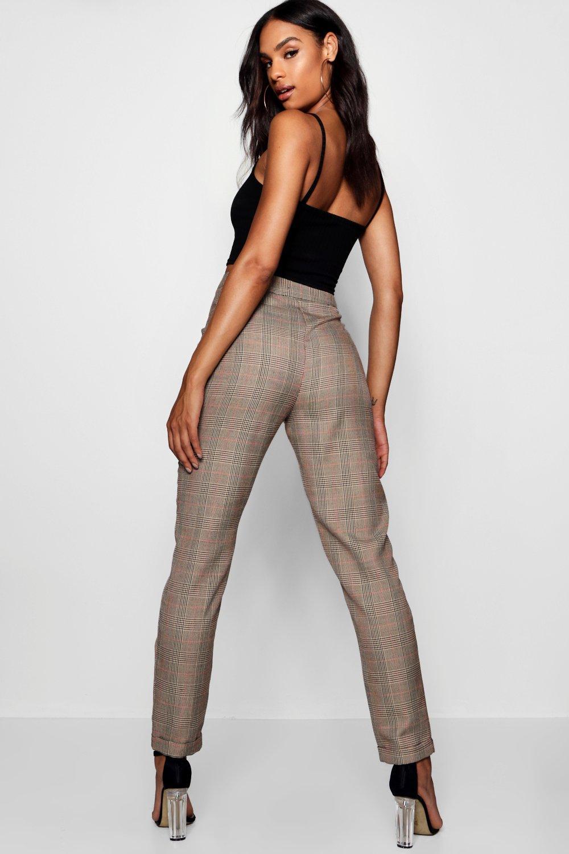 cuadros tejidos a Pantalones marrón ajustados Tall t4ORq6gx